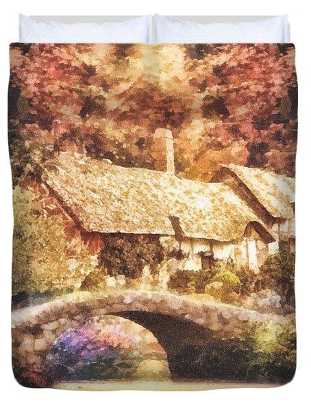 Golden Ripple Duvet Cover by Mo T
