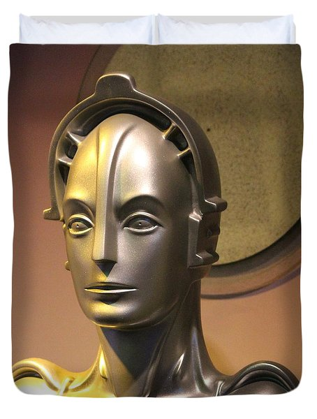 Duvet Cover featuring the photograph Golden Robot Lady Closeup by Cynthia Snyder