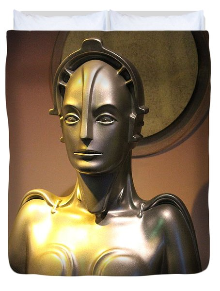 Duvet Cover featuring the photograph Golden Robot Lady by Cynthia Snyder