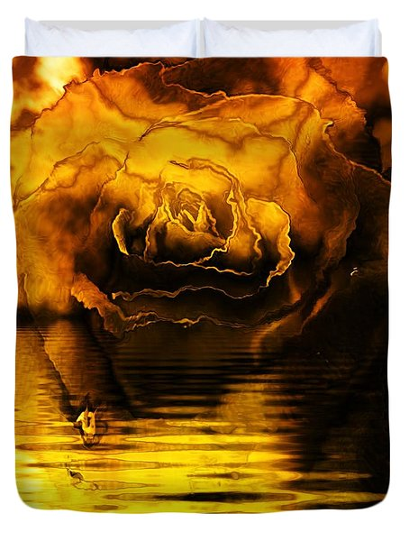 Golden Rose On The Lake Duvet Cover