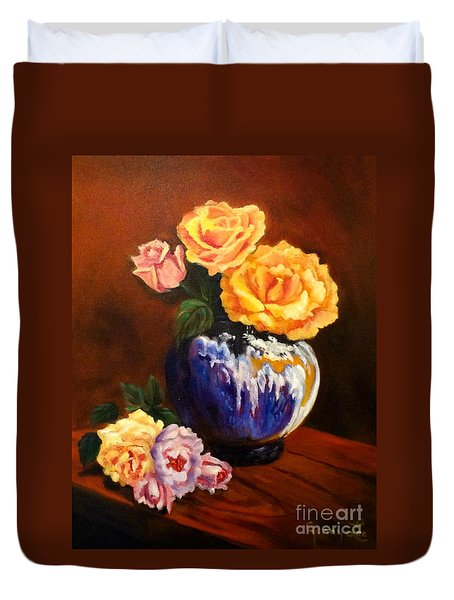 Duvet Cover featuring the painting Golden Roses by Jenny Lee