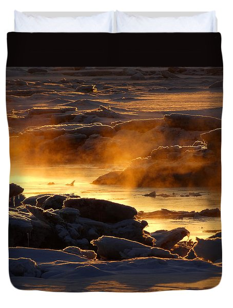 Golden Sea Smoke At Sunrise Duvet Cover by Dianne Cowen