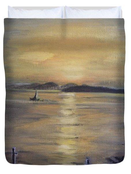 Golden Sea View Duvet Cover by Teresa White