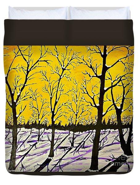 Golden Shadows Duvet Cover by Jeffrey Koss