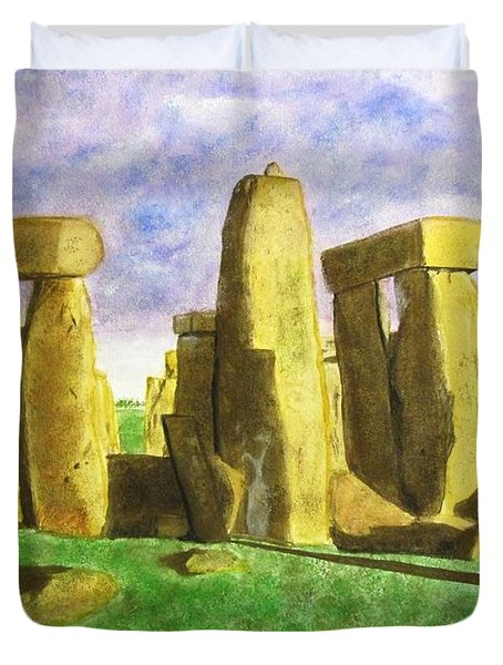 Golden Stonehenge Duvet Cover