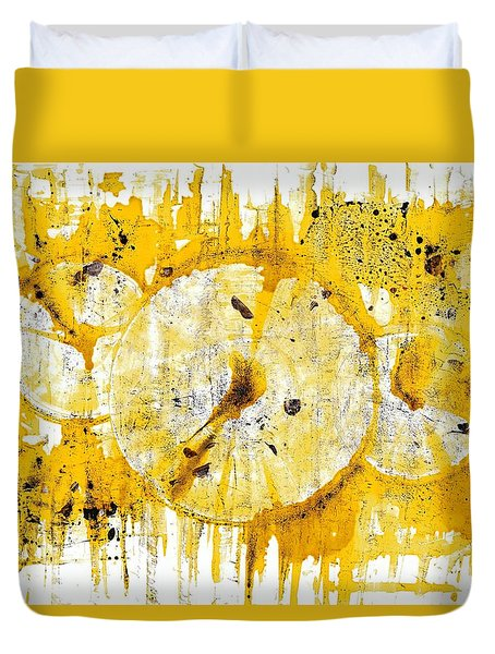 Duvet Cover featuring the painting Golden Sun Rise - 1290.121912 by Kris Haas