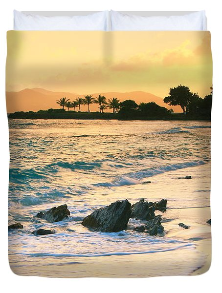 Golden Sunrise On Sapphire Beach Duvet Cover