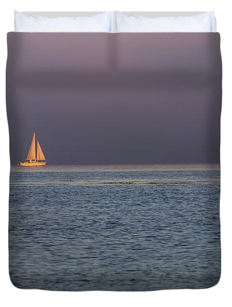 Golden Sunrise Sails By Denise Dube Duvet Cover