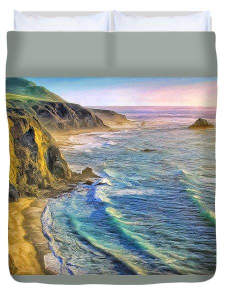 Golden Sunset At Big Sur Duvet Cover