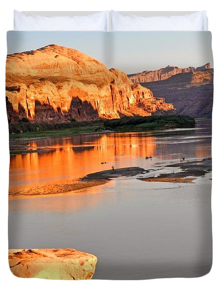 Golden Sunset On The Colorado Duvet Cover by Marty Koch