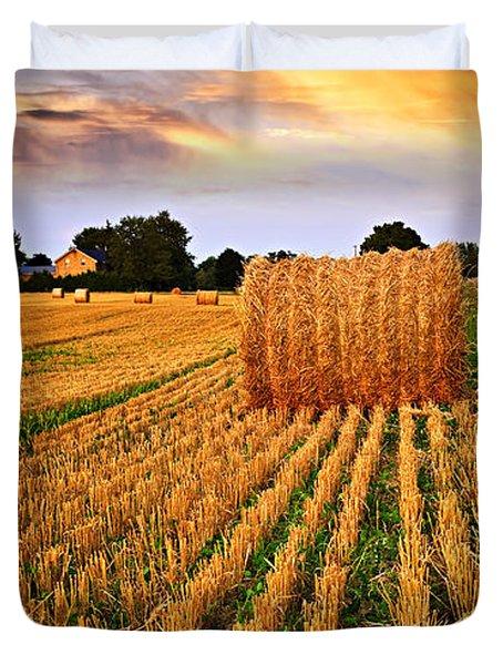 Golden Sunset Over Farm Field In Ontario Duvet Cover by Elena Elisseeva