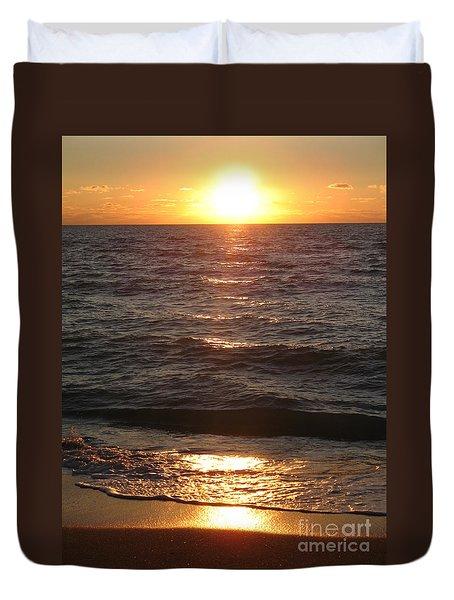 Duvet Cover featuring the photograph Golden Sunset At Destin Beach by Christiane Schulze Art And Photography