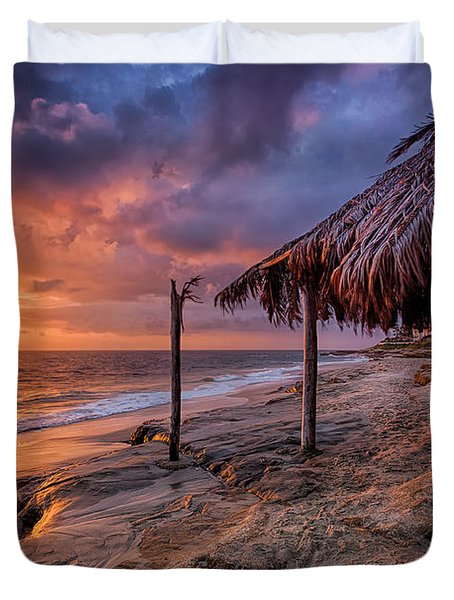 Golden Sunset The Surf Shack Duvet Cover