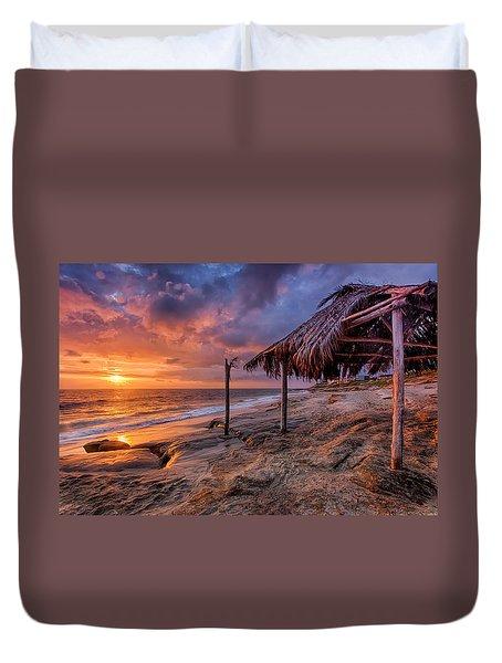 Golden Sunset The Surf Shack Duvet Cover