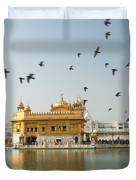 Golden Temple In Amritsar Duvet Cover