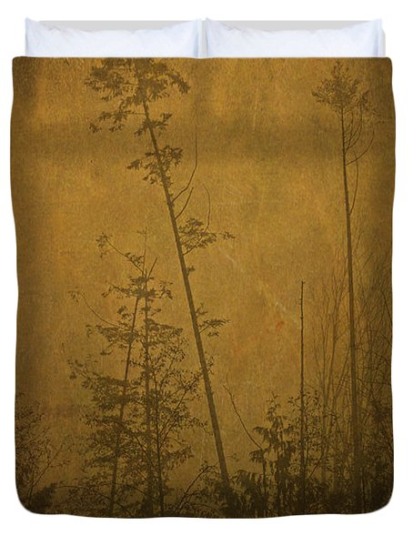 Duvet Cover featuring the photograph Golden Trees In Winter by Peggy Collins