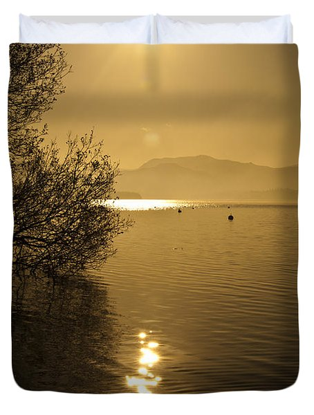 Duvet Cover featuring the photograph Golden Ullswater Evening by Meirion Matthias