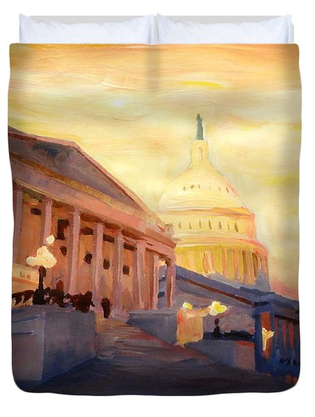 Golden United States Capitol In Washington D.c. Duvet Cover by M Bleichner