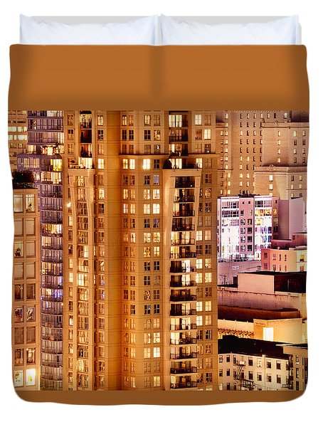 Duvet Cover featuring the photograph Golden Vancouver Cityscape Cdxii By Amyn Nasser by Amyn Nasser