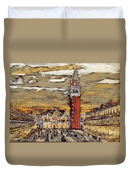 Golden Venice Duvet Cover