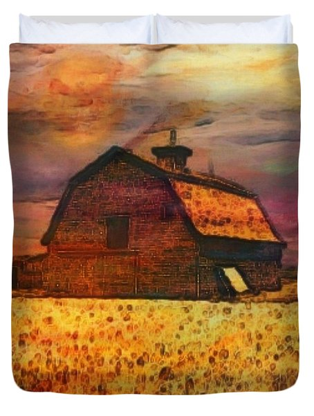 Golden Wheat Sunset Barn Duvet Cover