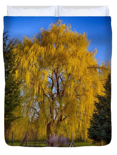 Golden Willow Tree Duvet Cover by Omaste Witkowski