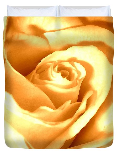 Duvet Cover featuring the photograph Golden Yellow Rose by Janine Riley