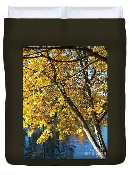 Duvet Cover featuring the photograph Golden Zen by Chalet Roome-Rigdon
