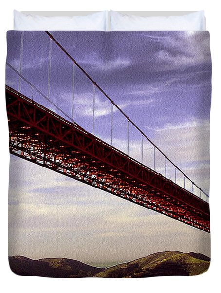 Goldengate Bridge San Francisco Duvet Cover by Bob and Nadine Johnston