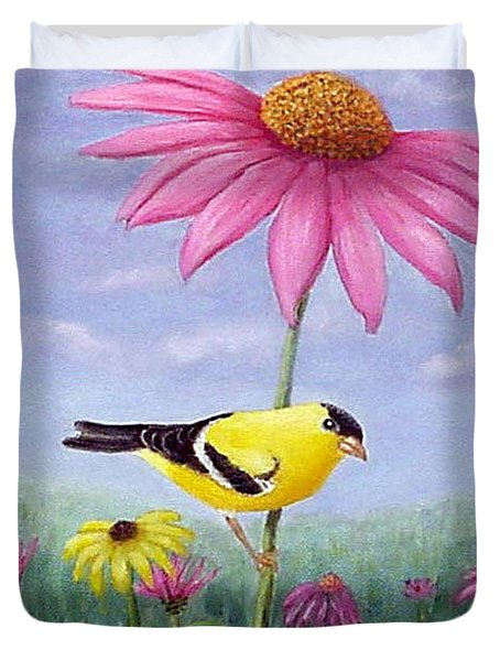 Duvet Cover featuring the painting Goldfinch And Coneflowers by Fran Brooks