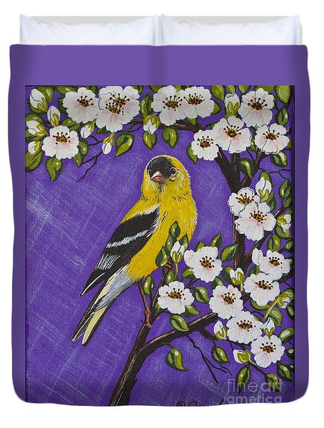 Goldfinch In Pear Blossoms Duvet Cover