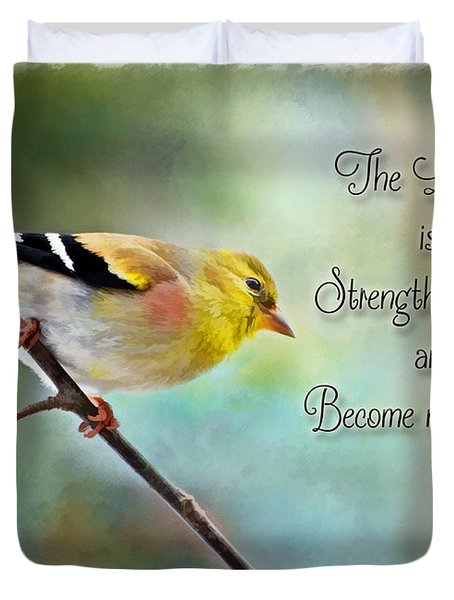Goldfinch With Rosy Shoulder - Digital Paint And Verse Duvet Cover