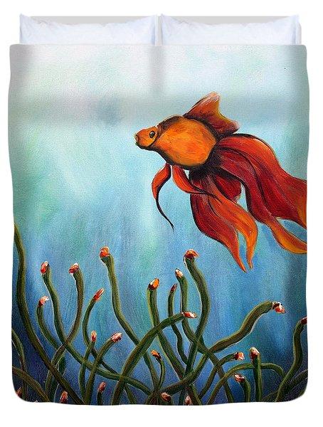 Duvet Cover featuring the painting Goldfish by Jolanta Anna Karolska