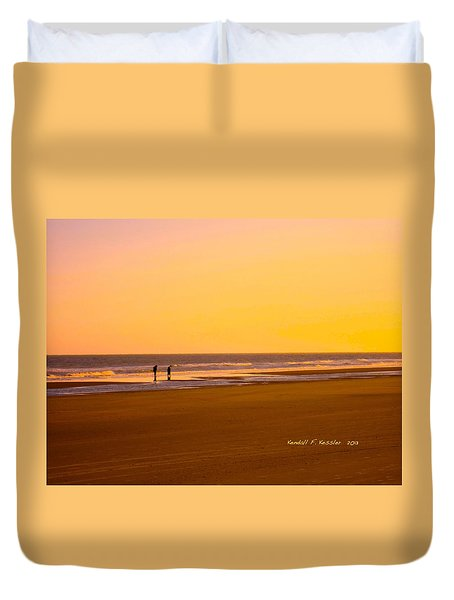 Goldlen Shore At Isle Of Palms Duvet Cover by Kendall Kessler