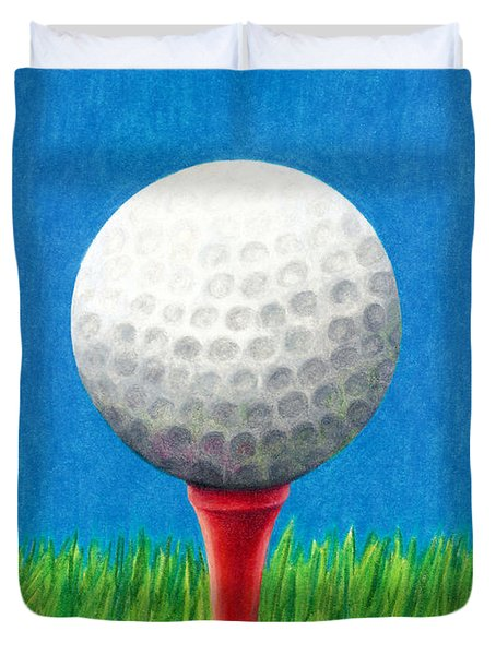 Golf Ball And Tee Duvet Cover