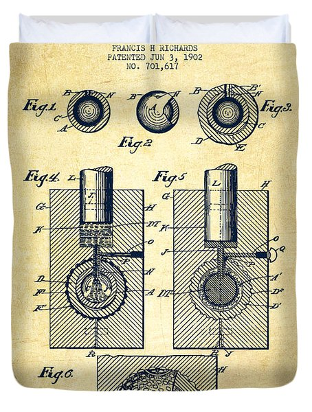 Golf Ball Patent Drawing From 1902 - Vintage Duvet Cover