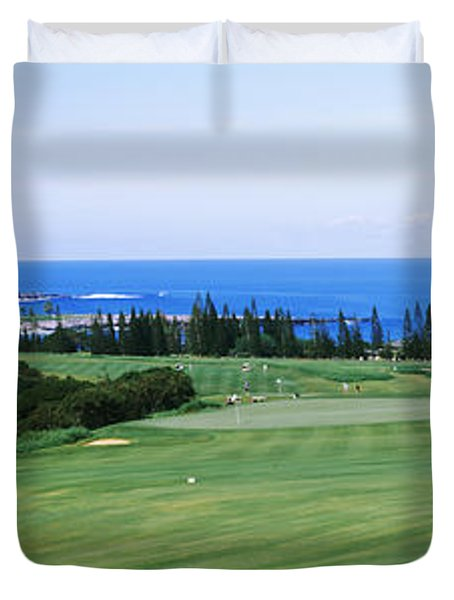 Golf Course At The Oceanside, Kapalua Duvet Cover