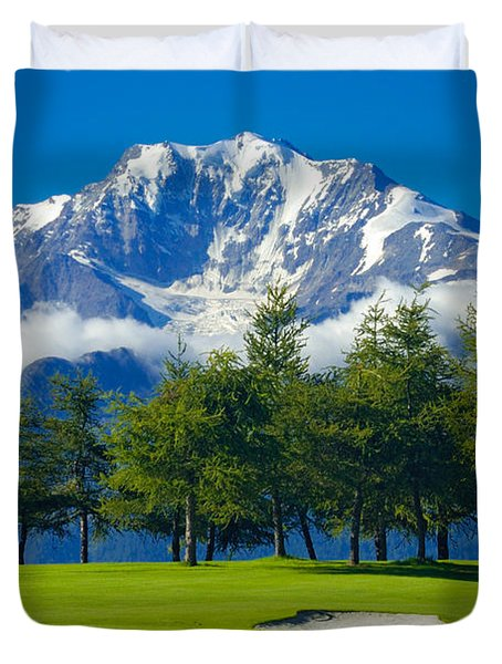 Golf Course In The Mountains - Riederalp Swiss Alps Switzerland Duvet Cover