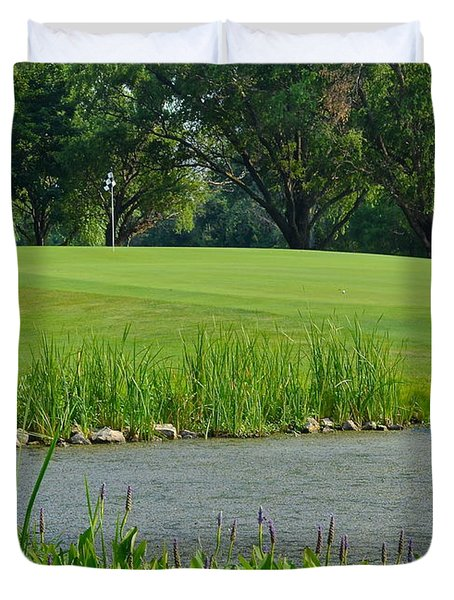 Golf Course Lay Up Duvet Cover by Frozen in Time Fine Art Photography
