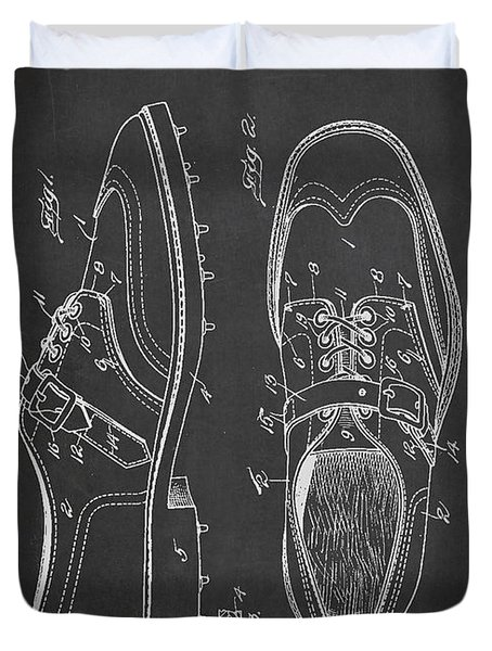 Golf Shoe Patent Drawing From 1927 Duvet Cover by Aged Pixel