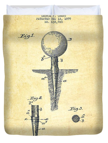 Golf Tee Patent Drawing From 1899 - Vintage Duvet Cover
