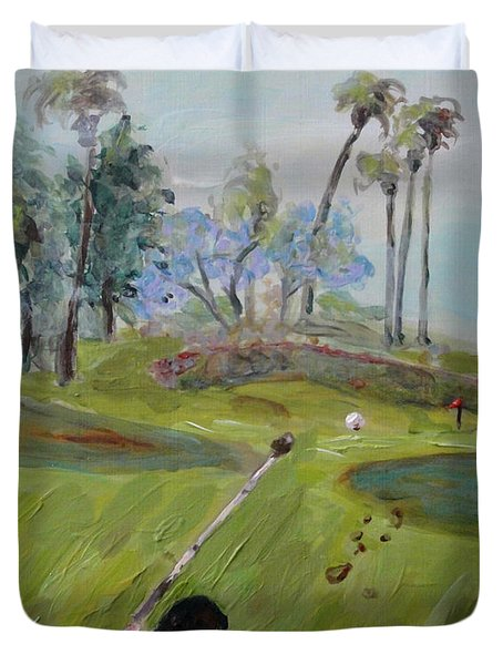 Golfing At Monarch Duvet Cover