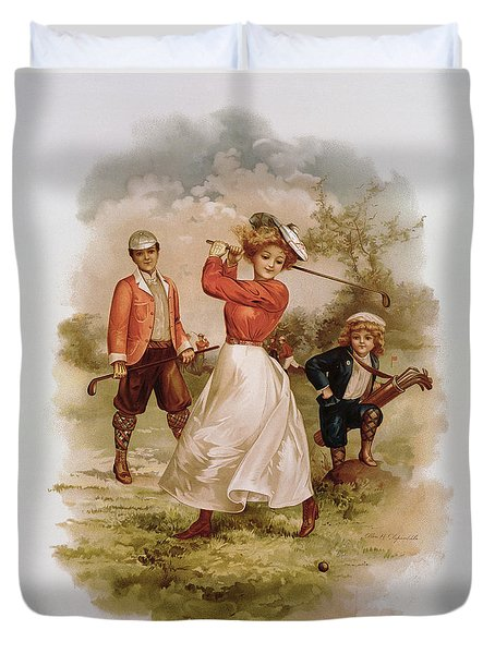 Golfing Duvet Cover by Ellen Hattie Clapsaddle