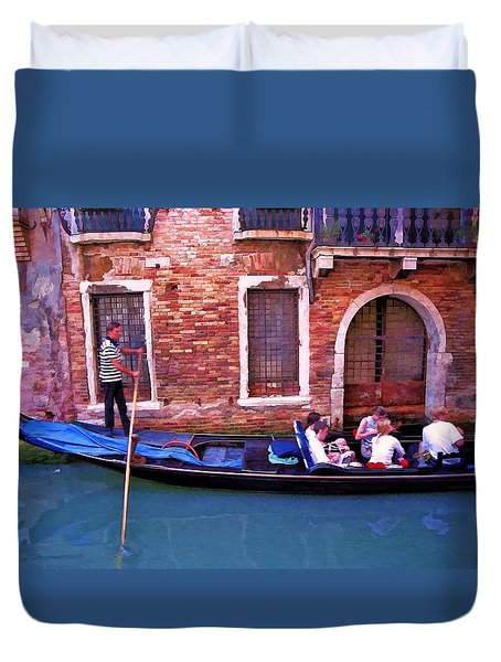Duvet Cover featuring the photograph Gondola 4 by Allen Beatty