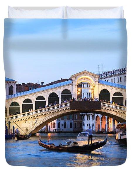 Gondola In Front Of Rialto Bridge At Dusk Venice Italy Duvet Cover by Matteo Colombo