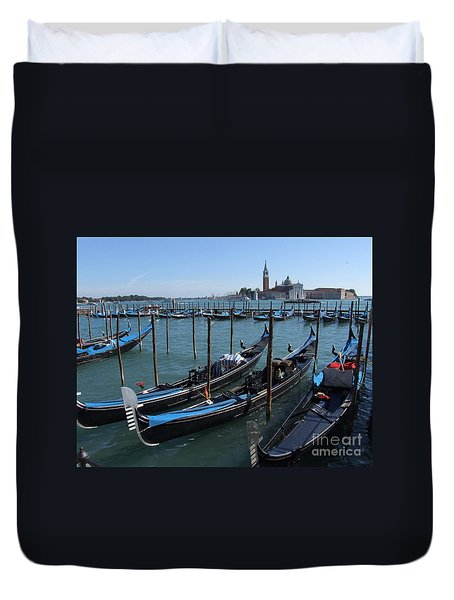 Duvet Cover featuring the photograph Gondola's - Grand Canal - Venice by Phil Banks