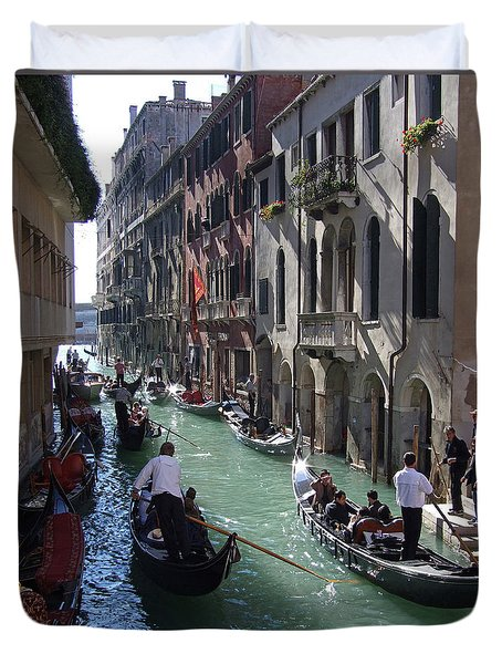 Duvet Cover featuring the photograph Gondolas - Venice by Phil Banks