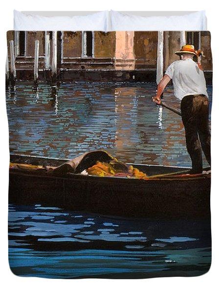 Gondoliere Sul Canale Duvet Cover by Guido Borelli