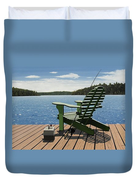 Gone Fishing Aka Fishing Chair Duvet Cover