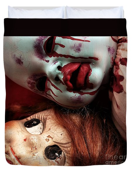 Duvet Cover featuring the photograph Good Dolls Gone Bad by John Rizzuto